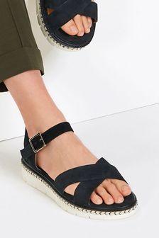 Black Regular/Wide Fit Forever Comfort® Flatform Sandals
