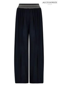 Accessorize Black Smocked Beach Trousers