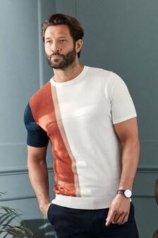 Ecru Vertical Stripe Knitted T-Shirt