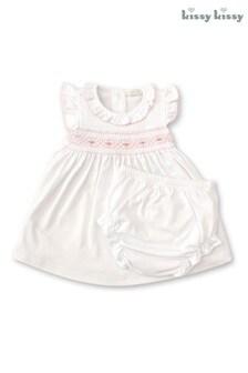 Kissy Kissy White Hand Embroidered Smocked Dress