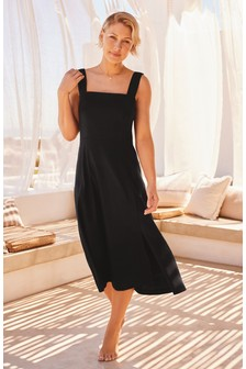Black Emma Willis Linen Blend Dress