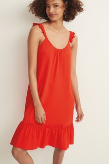 Red Frill Strappy Dress