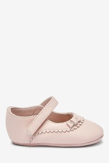 Pink Leather Mary Jane Pram Shoes (0-18mths)