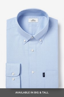 Light Blue Print Slim Fit Single Cuff Easy Iron Button Down Oxford Shirt
