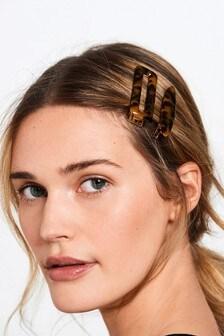 Tortoiseshell-Effect Hair Clips 2 Pack