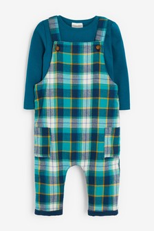Teal Check Dungaree And Bodysuit Set (0mths-2yrs)