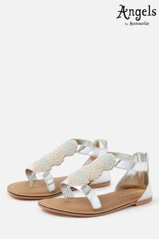 Angels By Accessorize Silver Shell Beaded Sandals