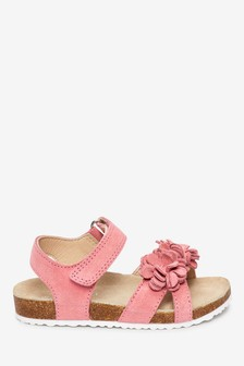 Pink Corkbed Leather Flower Sandals (Younger)
