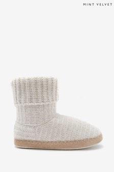 Mint Velvet Oyster Knitted Slipper Boots