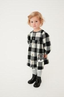 Black Check Dog Appliqué Dress With Tights (3mths-7yrs)