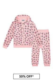 Moschino Kids Baby Girls Pink Cotton Tracksuit