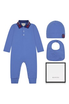 Baby Boys Blue Piquet Embroidered Collar Babygrow, Hat And Bib Gift Set