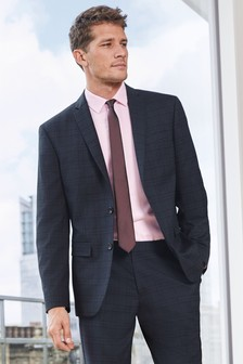 Navy/Red Slim Fit Check Suit: Jacket