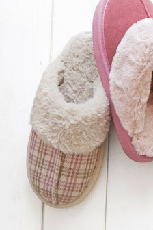 Pink Check Mule Slippers