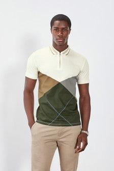 Ecru Argyle Print Polo Shirt