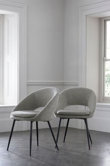 Fine Chenille Mid Grey Set of 2 Hewitt Dining Chairs With Black Legs