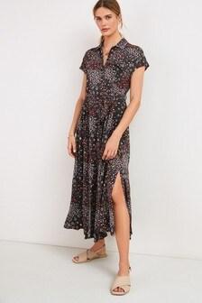 Charcoal Ladder Insert Shirt Dress