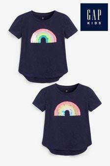 Gap Navy Rainbow Flippy Sequin T-Shirt