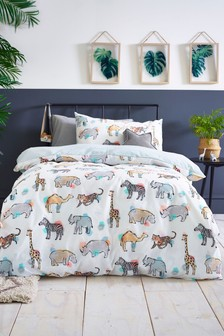 Safari Days Reversible Duvet Cover and Pillowcase Set