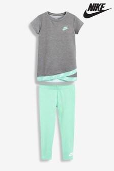 Nike Little Kids Turquoise/Grey Futura T-Shirt And Leggings Set