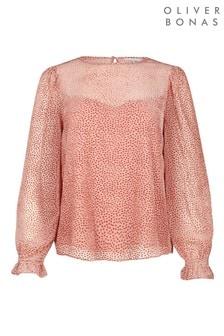 Oliver Bonas Flocked Spot Pink Blouse