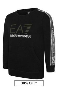 EA7 Boys Black Cotton Logo Sweater