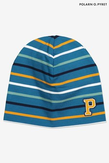 Polarn O. Pyret Blue Organic Cotton Stripe Hat