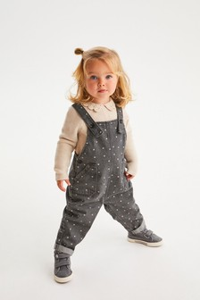 Charcoal All-Over Floral Print Dungarees (3mths-7yrs)