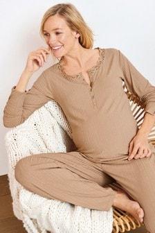 Camel Maternity/Nursing Ribbed Lounge Set