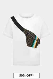 Fendi Kids Boys White Cotton T-Shirt