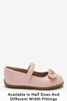 Pink Wide Fit (G) Bow Mary Jane Shoes
