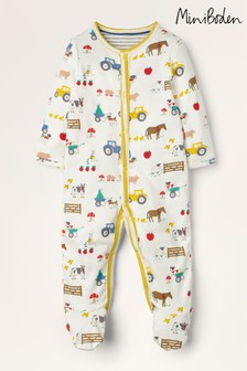 Boden Ivory Printed Supersoft Sleepsuit