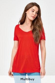 Orange Slouch V-Neck T-Shirt