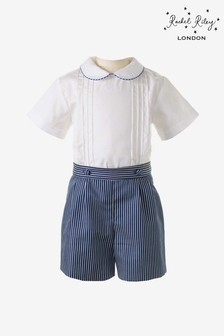 Rachel Riley White Shirt And Navy Stripe Short Set
