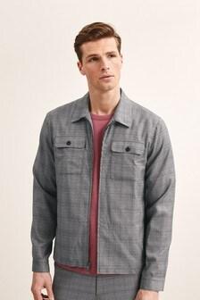 Light Grey Slim Fit Check Shacket
