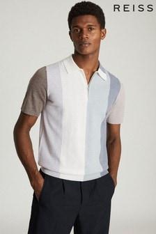 Reiss Grey Strokes Colourblock Zip Neck Polo Shirt