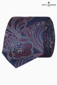 Jeff Banks Blue Intricate Paisley Design Silk Tie