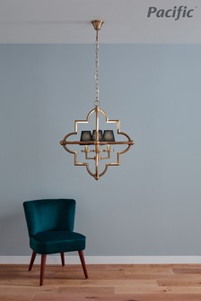 Zanetta Antique Brass Metal Four Shade Pendant by Pacific Lifestyle