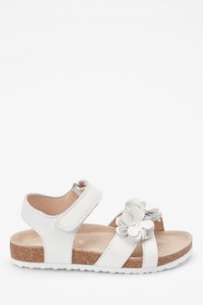 White Corkbed Leather Flower Sandals (Younger)
