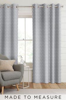 Monde Indigo Blue Made To Measure Curtains