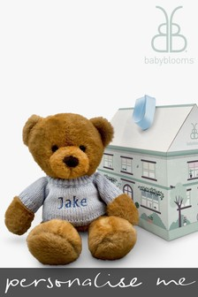 Babyblooms Personalised Blue Charlie Bear Soft Toy