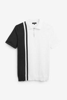 White/Blue Stripe Block Premium Zip Polo