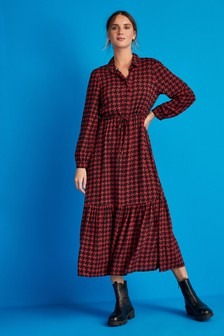 Red Dogtooth Tie Waist Shirt Dress