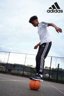 adidas Black 3 Stripe Fleece Joggers