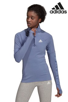 adidas Violet Motion Half Zip Long Sleeve Top