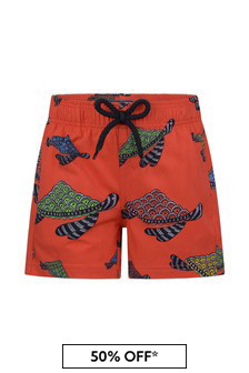 Boys Red Turtles Swim Shorts
