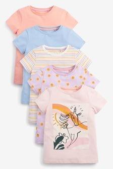 Pastel Unicorn 5 Pack T-Shirts (3-16yrs)