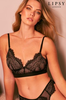 Black Lipsy Glamour Lace Non Padded Wire Free Bralette
