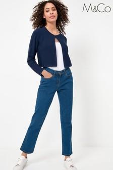 M&Co Petite Blue Straight Leg Jeans