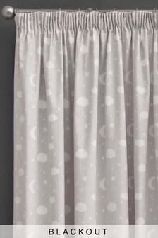 Moon & Stars Pencil Pleat Blackout Curtains